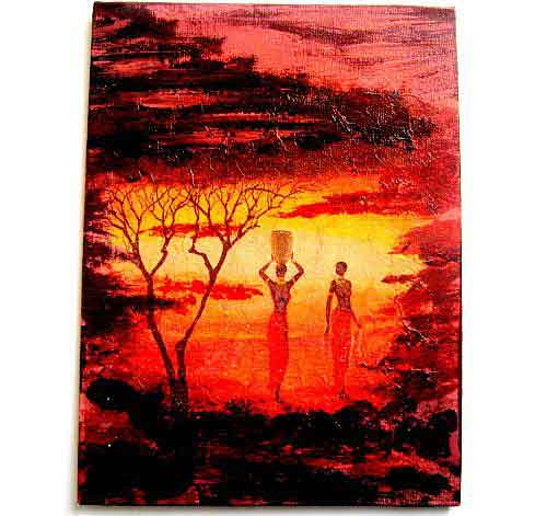 Tablou cu femei din Africa in amurg, tablou pe panza cu nuante rosiatice 29738