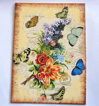 Tablou cu flori si fluturi culori albastru, galben, vernil, tablou pe panza 29737