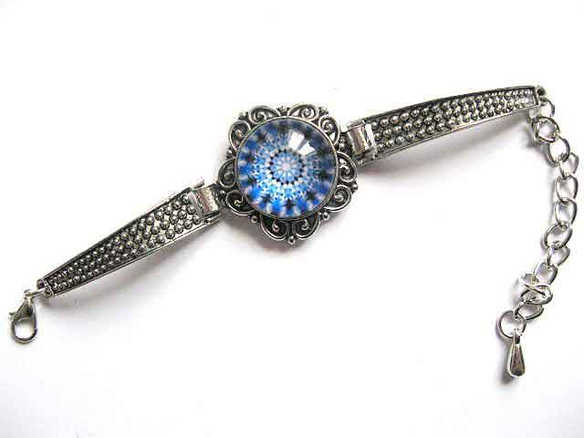 Bratara mandala culori albastru, negru si alb, bijuterii cadou femei 29957