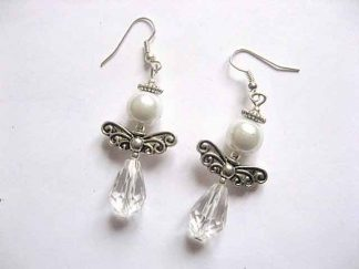 Cercei albi cristale si perle sticla, cercei cu tortite 30185