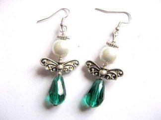 Cercei cristale si perle sticla, cercei aripi ingerasi metal, bijuterie femei 30183