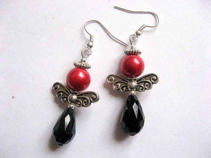 Cercei cristale si perle sticla rosu si negru, bijuterie femei cadou 30182