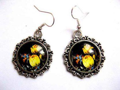 Cercei cu lalele galbene si alte flori, bijuterii femei cadou 30209