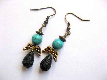 Cercei cu pietre semipretioase si bronz, cercei femei howlit si lava 30079