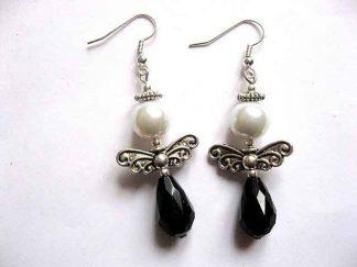 Cercei negru cu alb, bijuterie cadou femei 30187