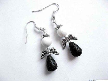 Cercei pietre lava si pietre semipretioase howlit, bijuterii femei 30111