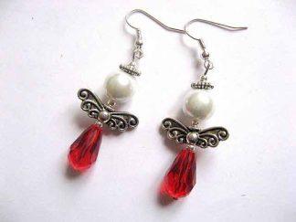 Cercei rosu cu alb, bijuterie cadou femei aripi ingeras 30188