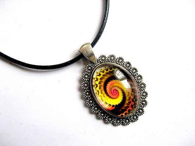 Colier design spirala galben, portocaliu si negru, bijuterie cadou femei 30048