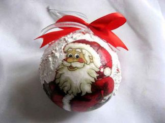 Glob brad cu Mos Craciun si flori, glob ornament sarbatori iarna 29923