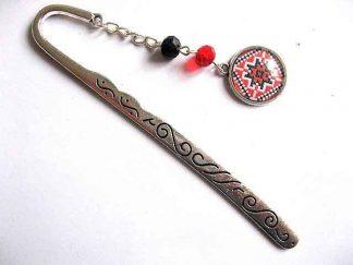 Semn de carte din metal si sticla cu motiv traditional, cadou deosebit 30123
