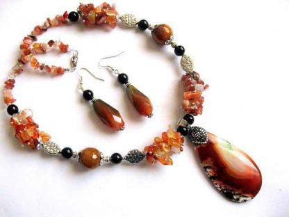 Set bijuterii agate, pietre semipretioase, cadou colier si cercei 30121