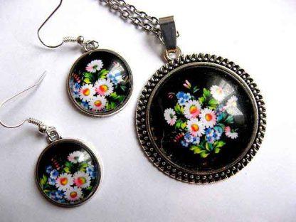 Set colier si cercei cu model floral, set bijuterii cadou femei 30207