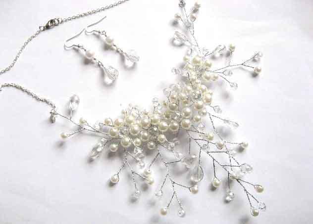 Set mireasa, colier si cercei perle si cristale, set nunta 30161