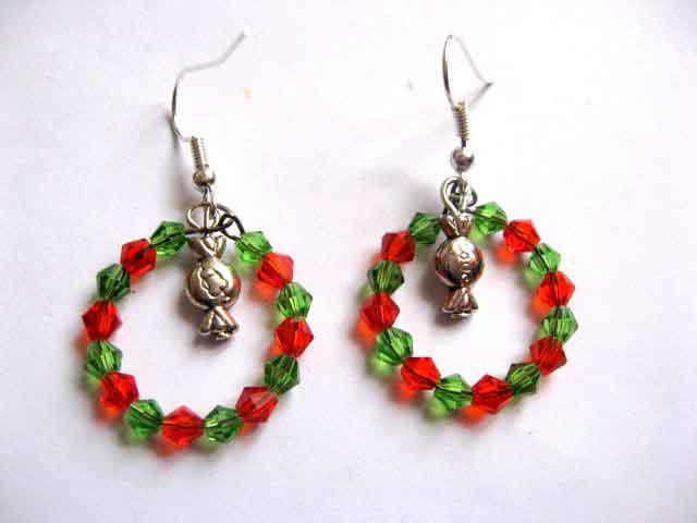 Cercei coronita flori, culori rosu si verde bijuterie cadou femei 30295