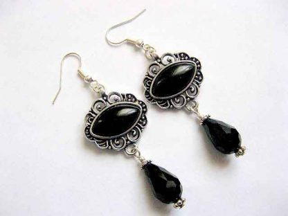 Cercei culoare neagra, cadou bijuterie onix si cristale 30288