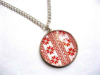 Colier cu pandantiv cu motiv traditional rosu, cadou bijuterie femei 30289