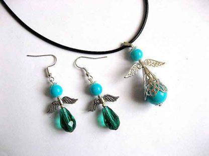 Colier cu pandantiv si cercei, cadou set bijuterii femei 30319