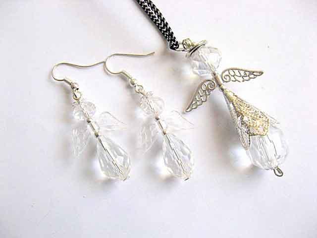 Set bijuterii cadou, cercei si colier cu pandantiv ingerasi stilizati 30312