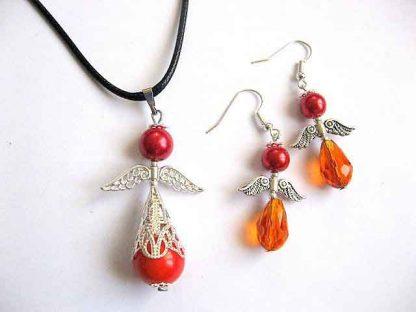 Set bijuterii cu ingeri stilizati, set bijuterii cadou femei 30311