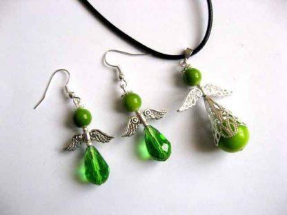 Set bijuterii culoare vernil, set cadou femei cu ingeri stilizati 30315