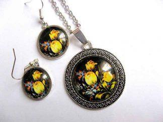 Set cercei si colier cu pandantiv, set cu model floral lalele galbene 30202