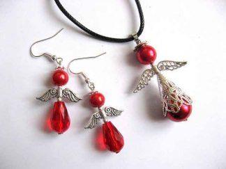 Set perle sticla si cristale, set bijuterii ingeri stilizati 30322