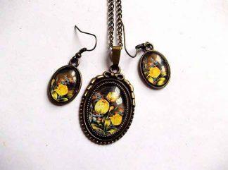 Bijuterii design lalele galbene si alte flori, set model 31898