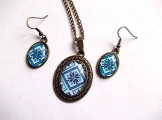 Cadou femei, set cu model traditional, culoarea albastra 31897