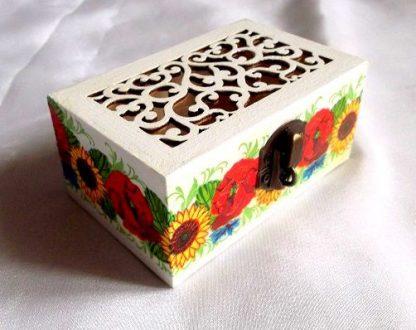 Cutie lemn cu capac ornamental si model floral, cutie model 31904 poza 1