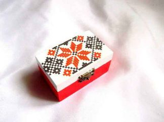 Cutiuta lemn cu model traditional, cutie cu modele geometrice 31951