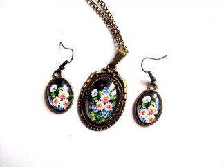 Set bronz si sticla, bijuterii cadou femei set floral 31894