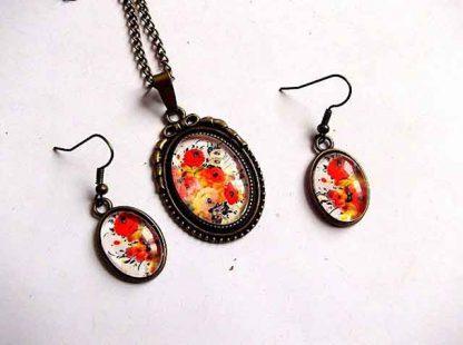 Set cadou femei cu model floral in culori vii 31896