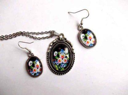Set flori de camp, set de bijuterii colier cu pandantiv si cercei model 31901