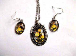 Set model floral, lalele galbene, flori portocalii si albastre, model 31902