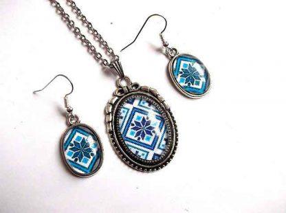 Set model traditional pe albastru, set bijuterii femei 31899