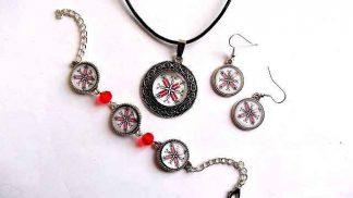 Bratara reglabila, pandantiv si cercei, set bijuterii femei 32292