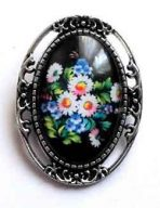 Brosa metal si sticla, brosa buchet flori 32235
