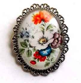 Brosa ovala cu model floral, brosa sticla 32270