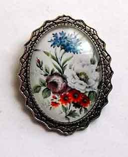 Brosa sticla si metal, brosa model floral 32269