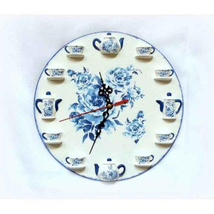 Ceas cu elemente florale albastre, ceas lemn si ipsos 122438 poza 1