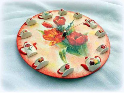 Ceas cu lalele rosii, ceas de perete cu lalele 121140 poza 2