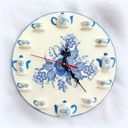 Ceas de perete flori albastre, ceas tehnica decupaj 120612 poza 1