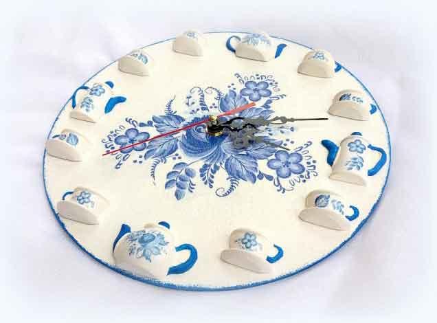 Ceas de perete flori albastre, ceas tehnica decupaj 120612 poza 2