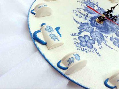 Ceas de perete flori albastre, ceas tehnica decupaj 120612 poza 3