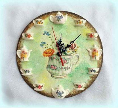 Ceas perete cu vaza cu flori, ceas decorat manual 120358 poza 1