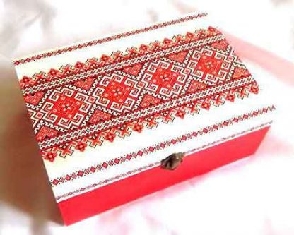 Cutie compartimentata cu motive traditionale, cutie lemn 32264