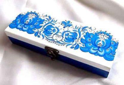 Cutie cu flori albastre stilizate, cutie motiv traditional 32113