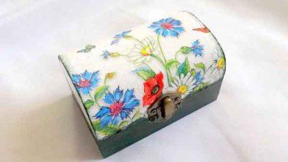 Cutie cu flori de primavara, cutie de lemn bijuterii cadouri 32161