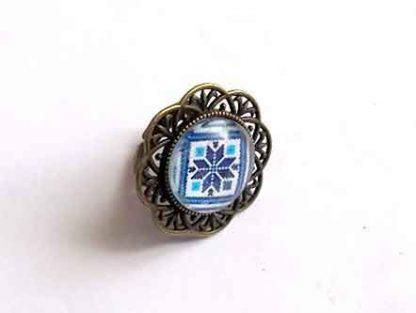 Inel cu motiv traditional albastru, cadou femeie 32302