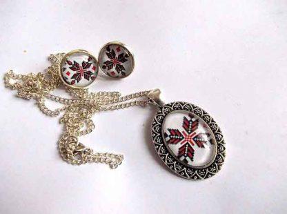 Set bijuterii cu motiv traditional, colier, pandantiv si cercei 31987